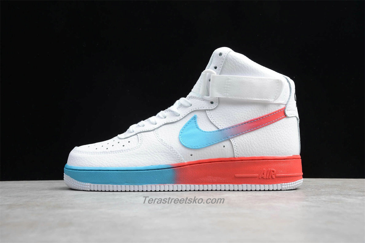 Nike Air Force 1 High 07 PRM 2 CJ0525 100 Herre Hvid / Blå / Rød Sko
