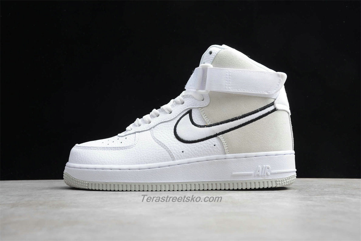 Nike Air Force 1 High 07 WB A02442 100 Herre Hvid / Sand / Sort Sko