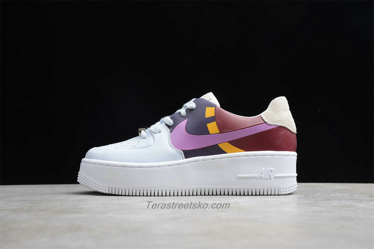 Nike Air Force 1 Sage Low LX Platform BV1976 003 Dame Hvid / Lilla / Bordeaux Sko