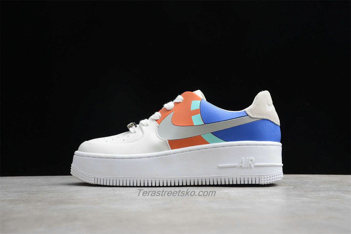 Nike Air Force 1 Sage Low LX Platform BV1976 006 Dame Blå / Orange / Hvid Sko