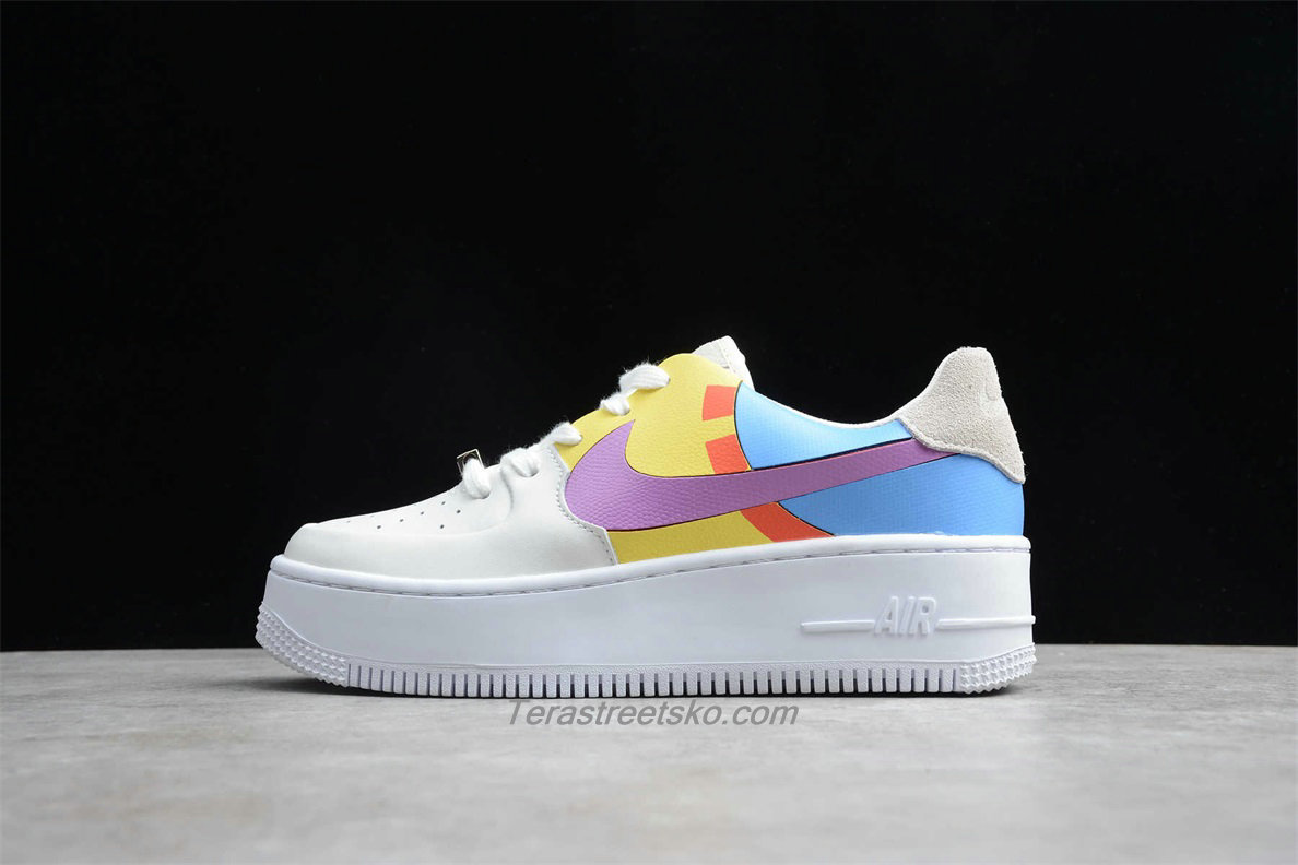 Nike Air Force 1 Sage Low LX Platform BV1976 009 Dame Blå / Gul / Hvid Sko