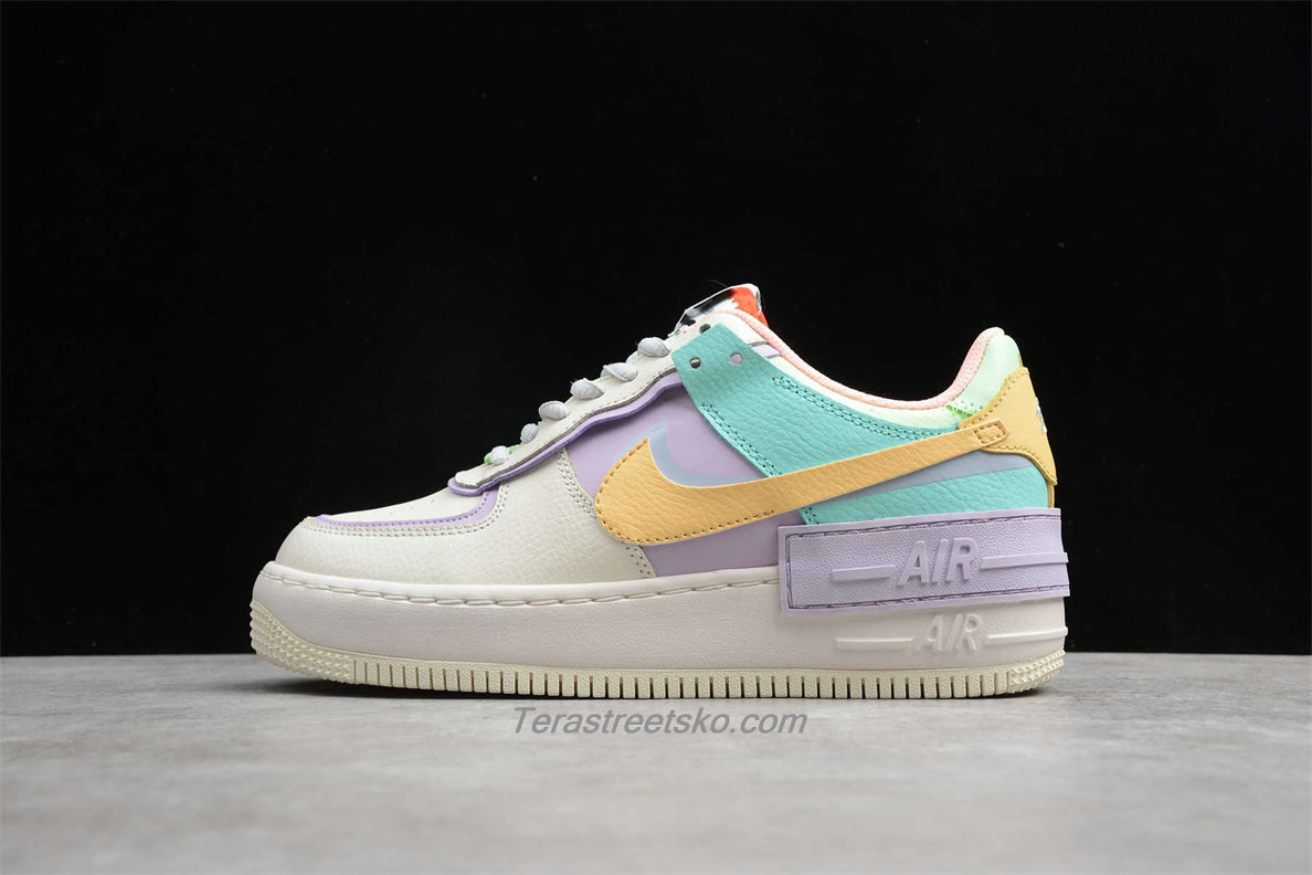 Nike Air Force 1 Shadow CI0917 101 Dame Beige / Lilla / Grøn / Gul Sko